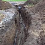 Opgravning for udskiftning af nedslidt betonledning i Stenløse